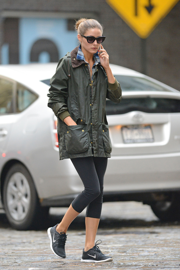 Olivia Palermo talks on her phone while taking a walk in Brooklyn, New York